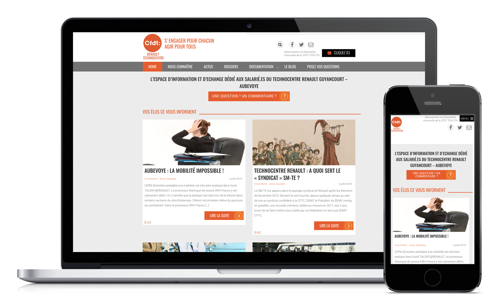 Conception de site Web de la CFDT Renault Technocentre