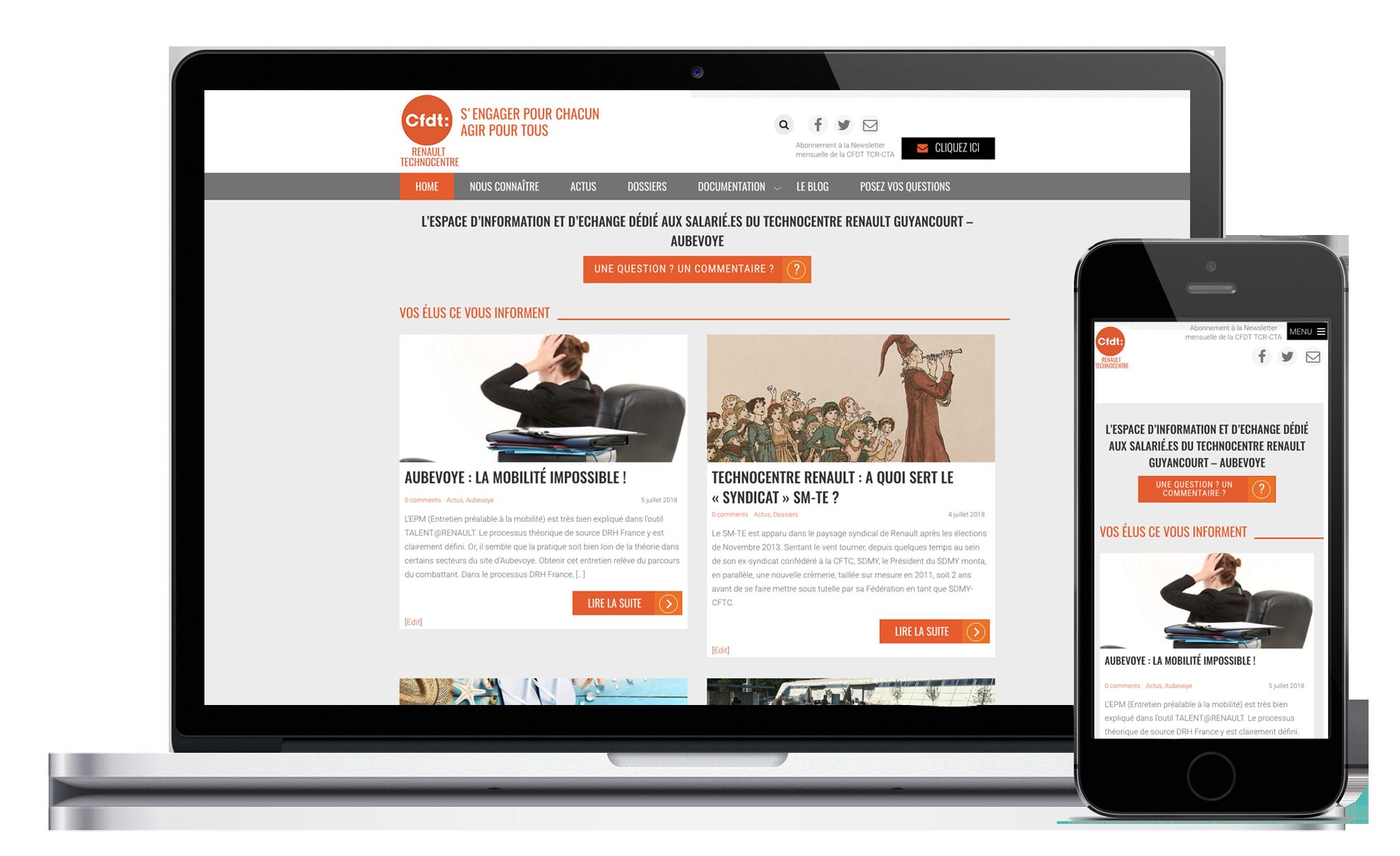 Conception de site Web de la CFDT Renault Technocentre