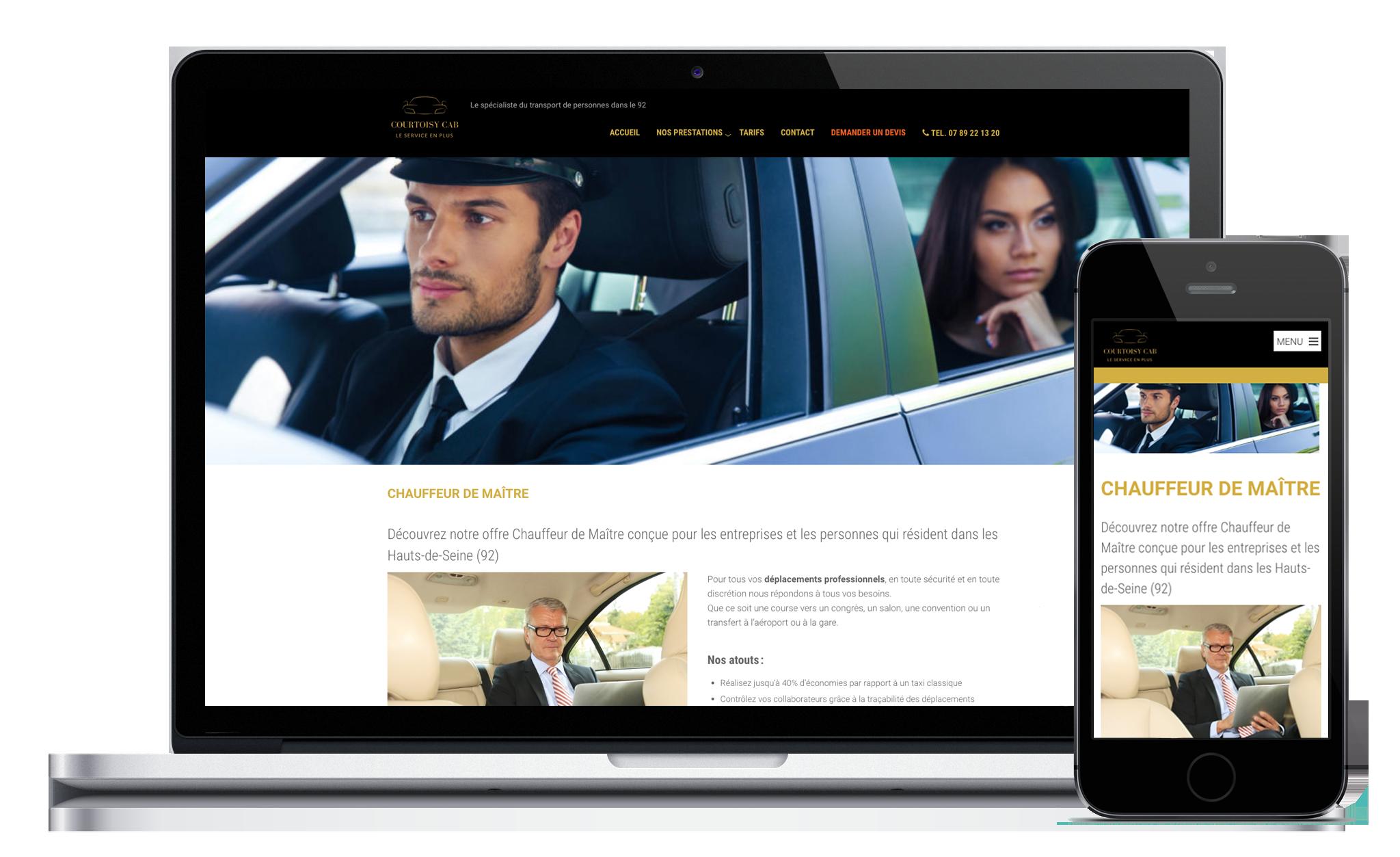 Conception du site web de Courtoisy Cab