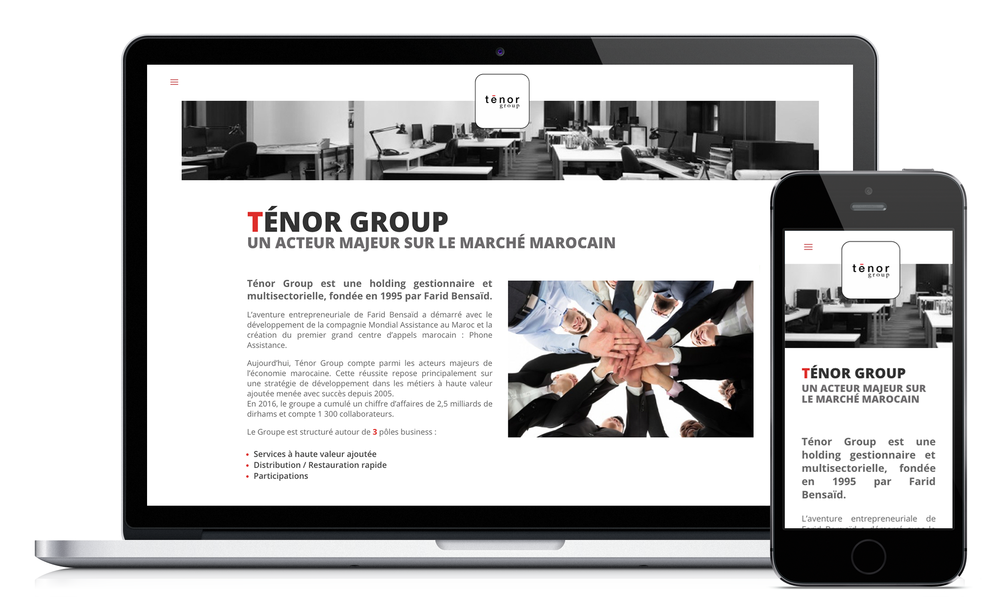 Conception du site web de Ténor Group
