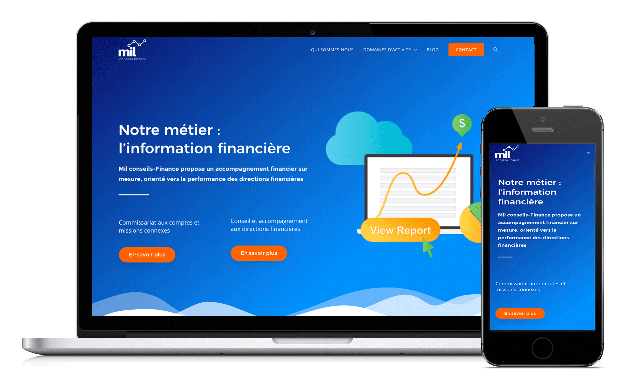 Conception de site Web de mil conseils finance